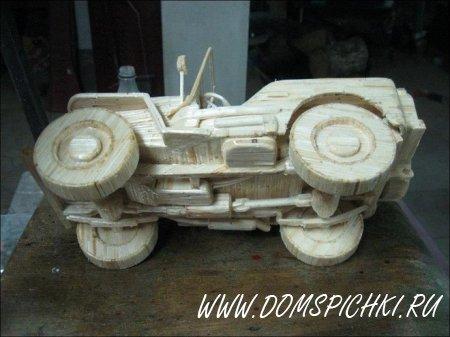 Грузовые автомобили и техника из спичек