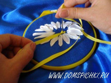 Вышивка лентами «Ромашки полевые»