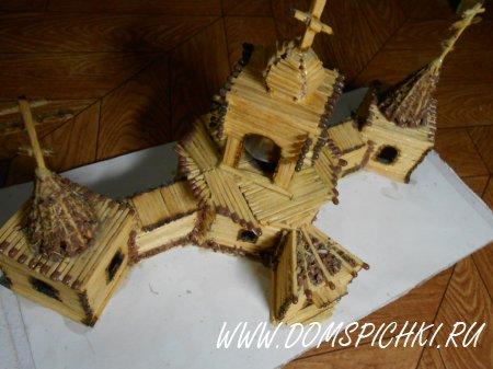Церковь из спичек, крепление ПВА