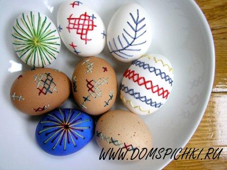 Вышивка на яичной скорлупе к Пасхе