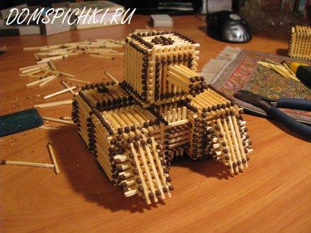 Строим домик из спичек.  Схемы спичечных домиков, замков.  Крепость .  Размер: 338=450.  Танк из спичек без клея.