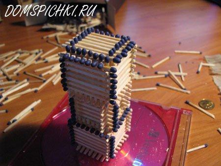 Соединение спичечных кубиков методом надстройки 2