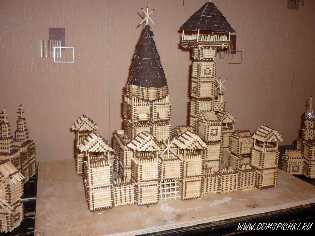 Схемы постройки замков из спичек.