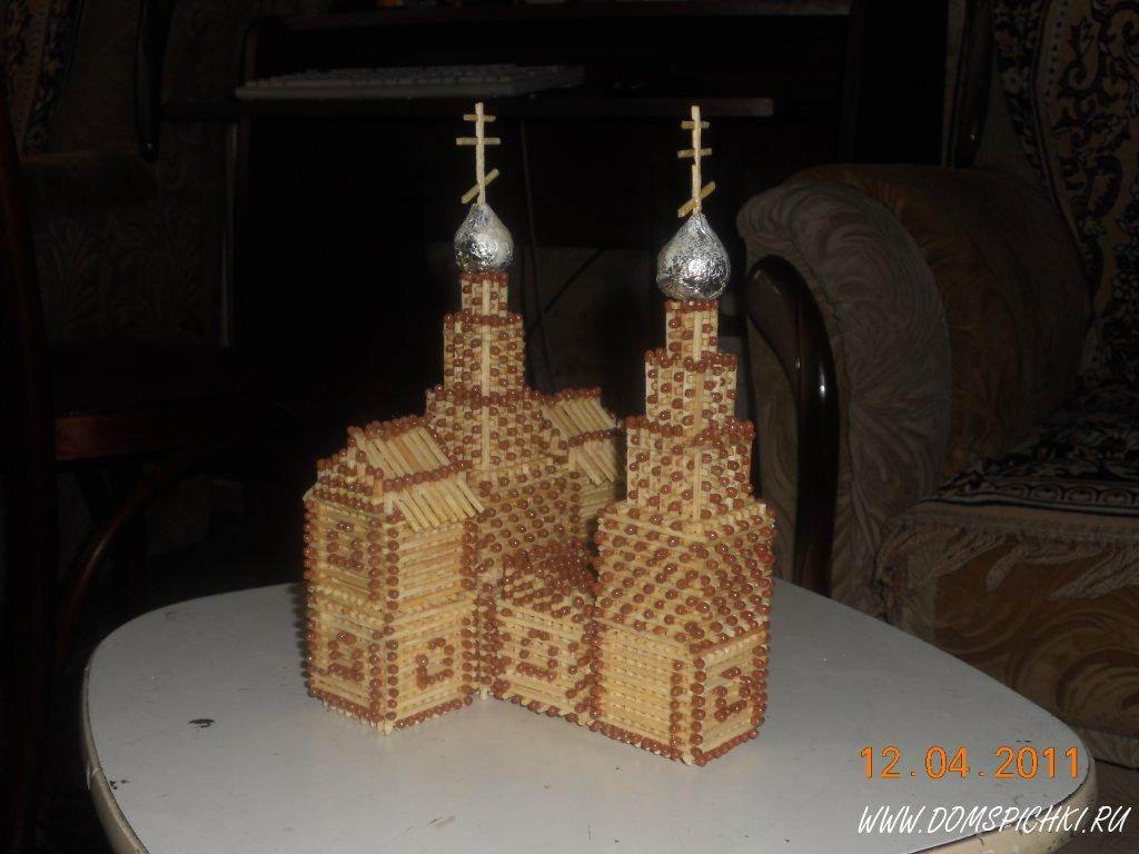 Церковь из спичек без клея.