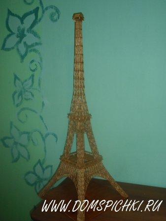 Очередная эйфелева башня, немного другого вида.  Спички и клей20.