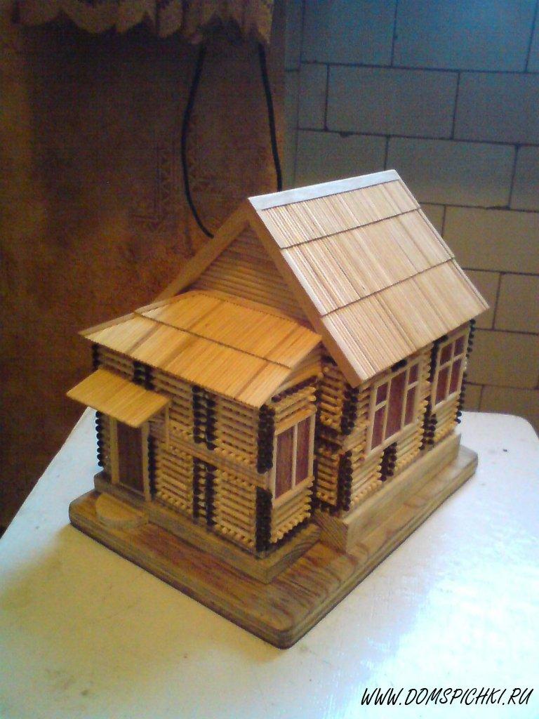Дом из спичек с клеем своими руками