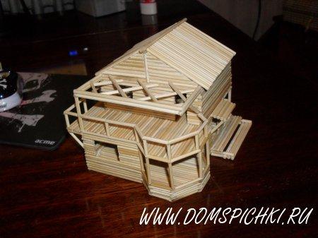 Как сделать домик из спичек с клеем