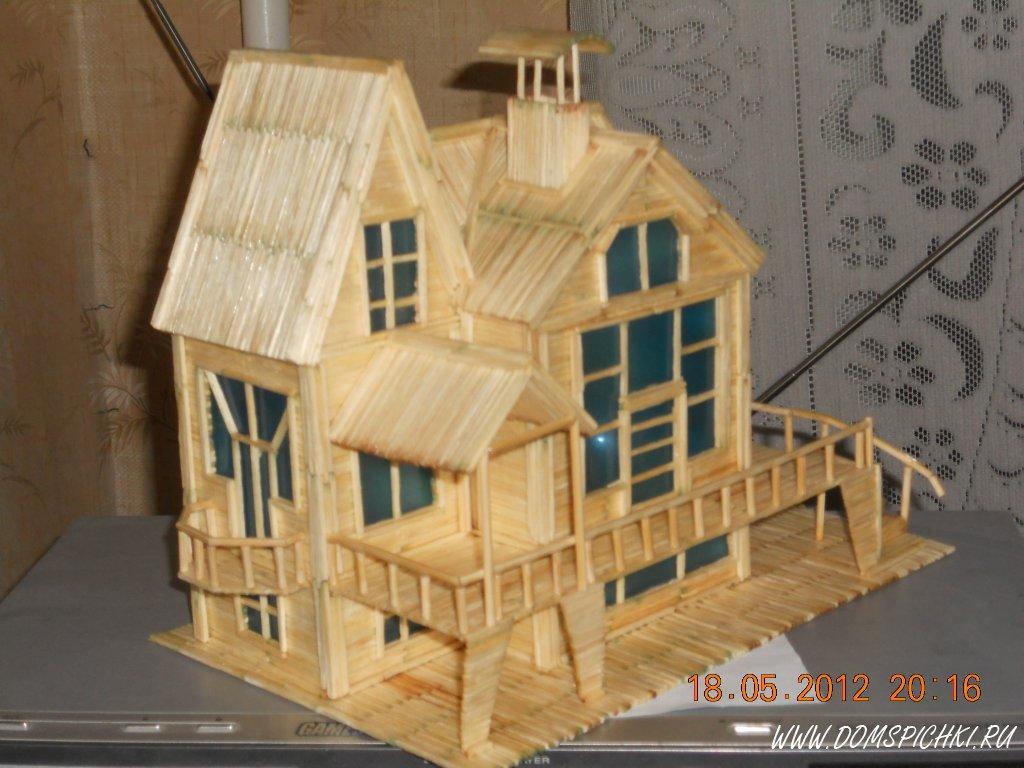 Дом из спичек с клеем своими руками 2