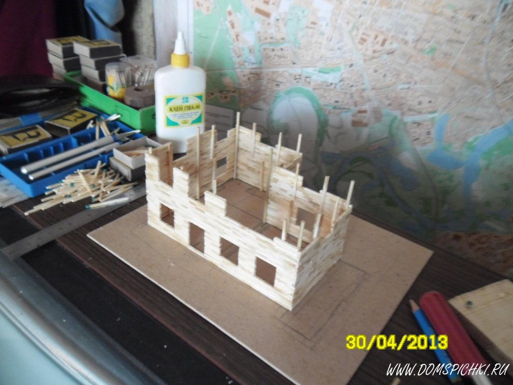 Замок из палочек от мороженого своими руками 8