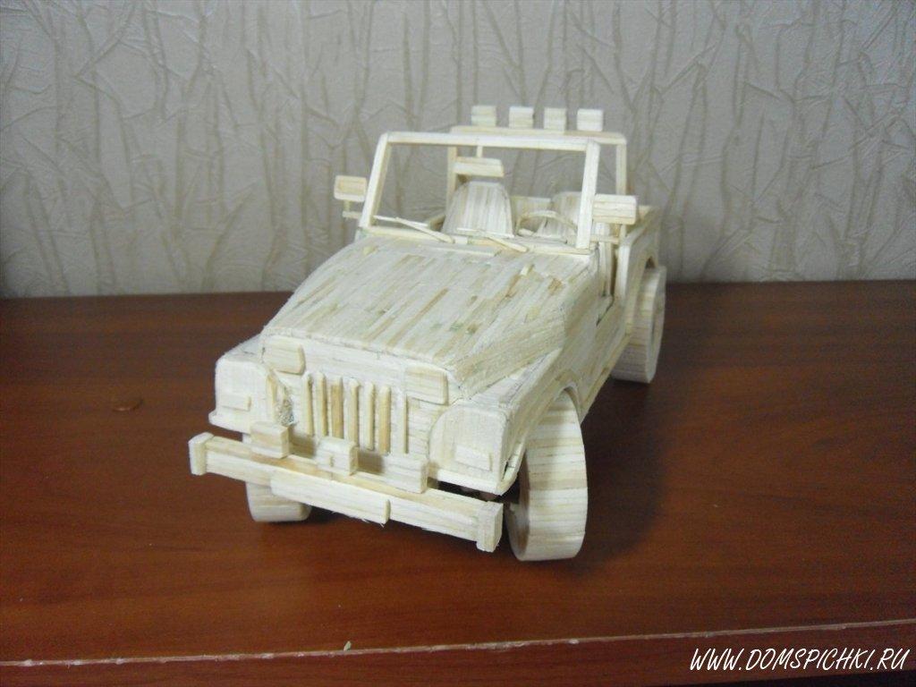 Машина из спичек поделки 47