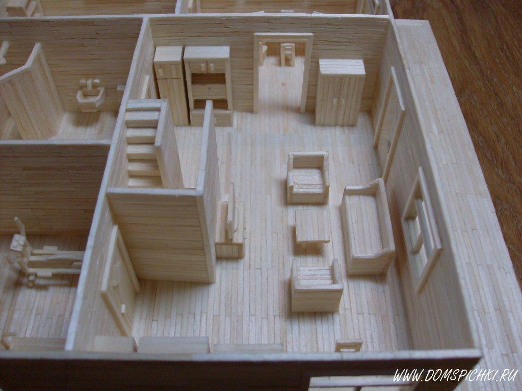 Модель дома из спичек своими руками 91