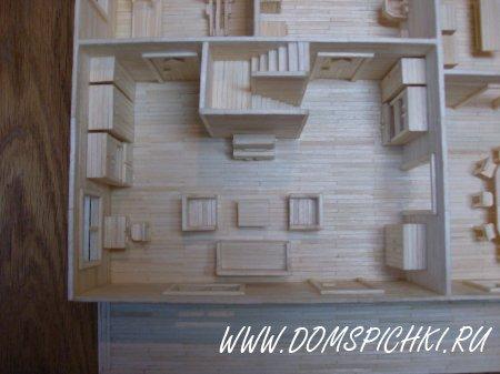 дома с мебелью (из спичек)