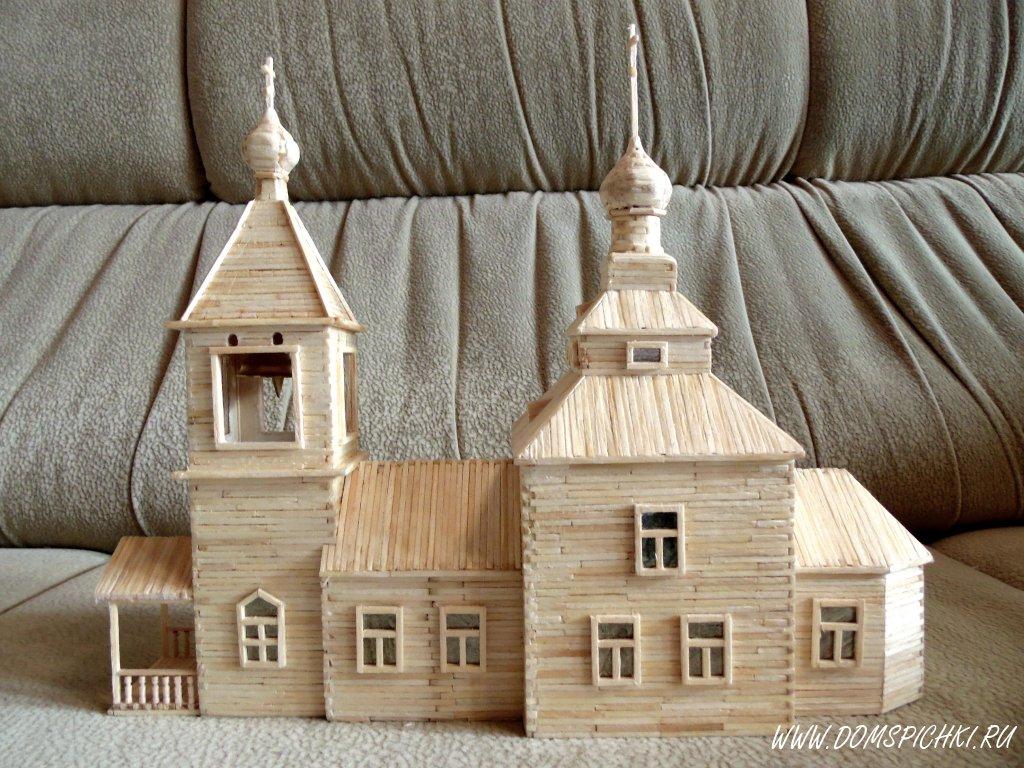 Как сделать из спичек церковь с клеем