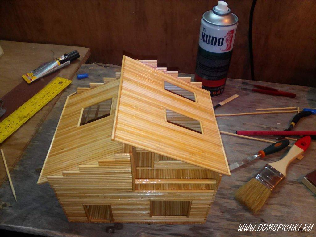 Как сделать домик из шпажек своими руками 56