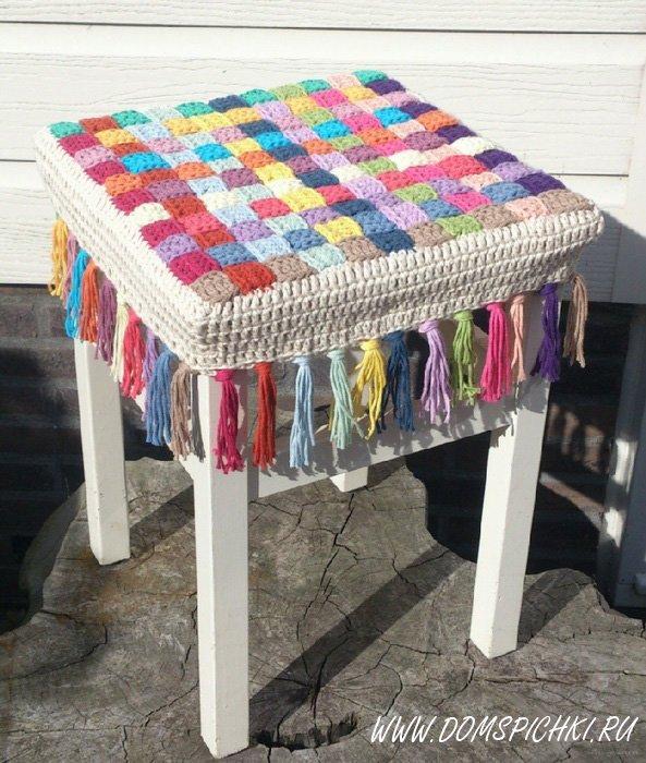 Чехлы на стулья с узором из «кос» - схема вязания спицами 62